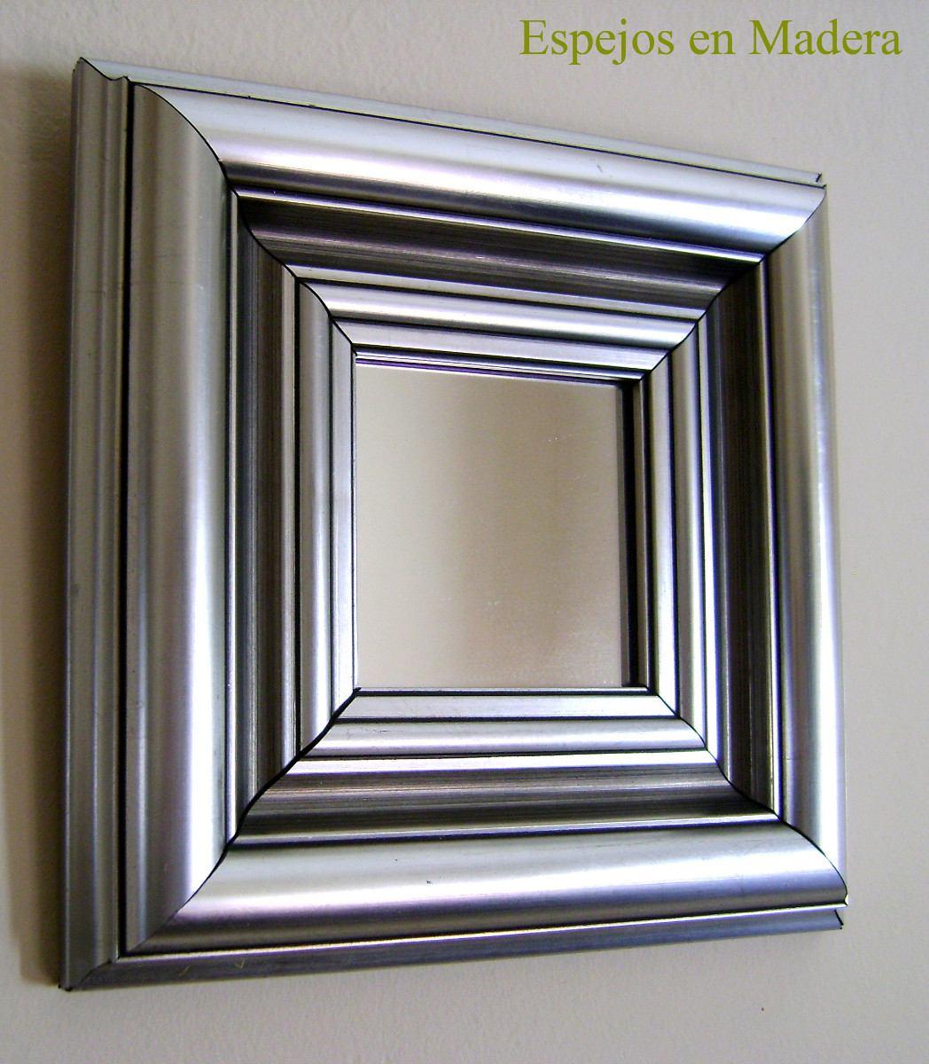 Espejo marco plateado espejo moldura tallada plata x cm for Espejos con marco plateado