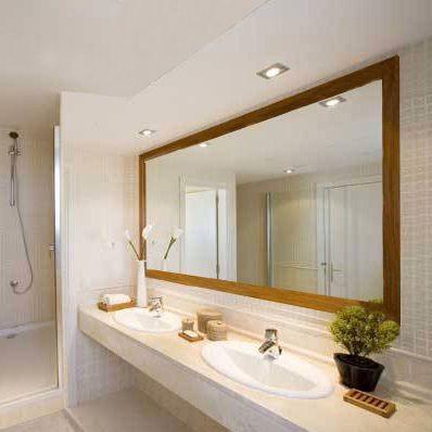 espejo en marco madera para bao x m