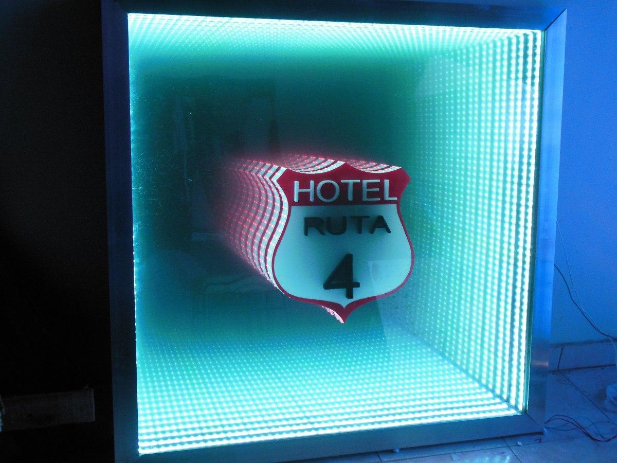 Espejo Infinito Led Efecto 3d 1x1m Rgb Con Logo Central 8 580  # Muebles Efecto Espejo