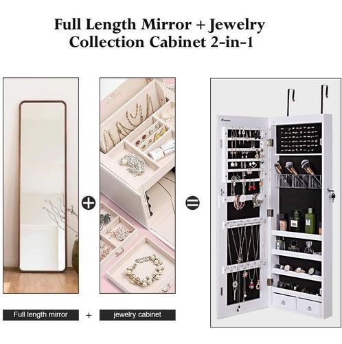 espejo joyero armario pared o puerta montado blanco