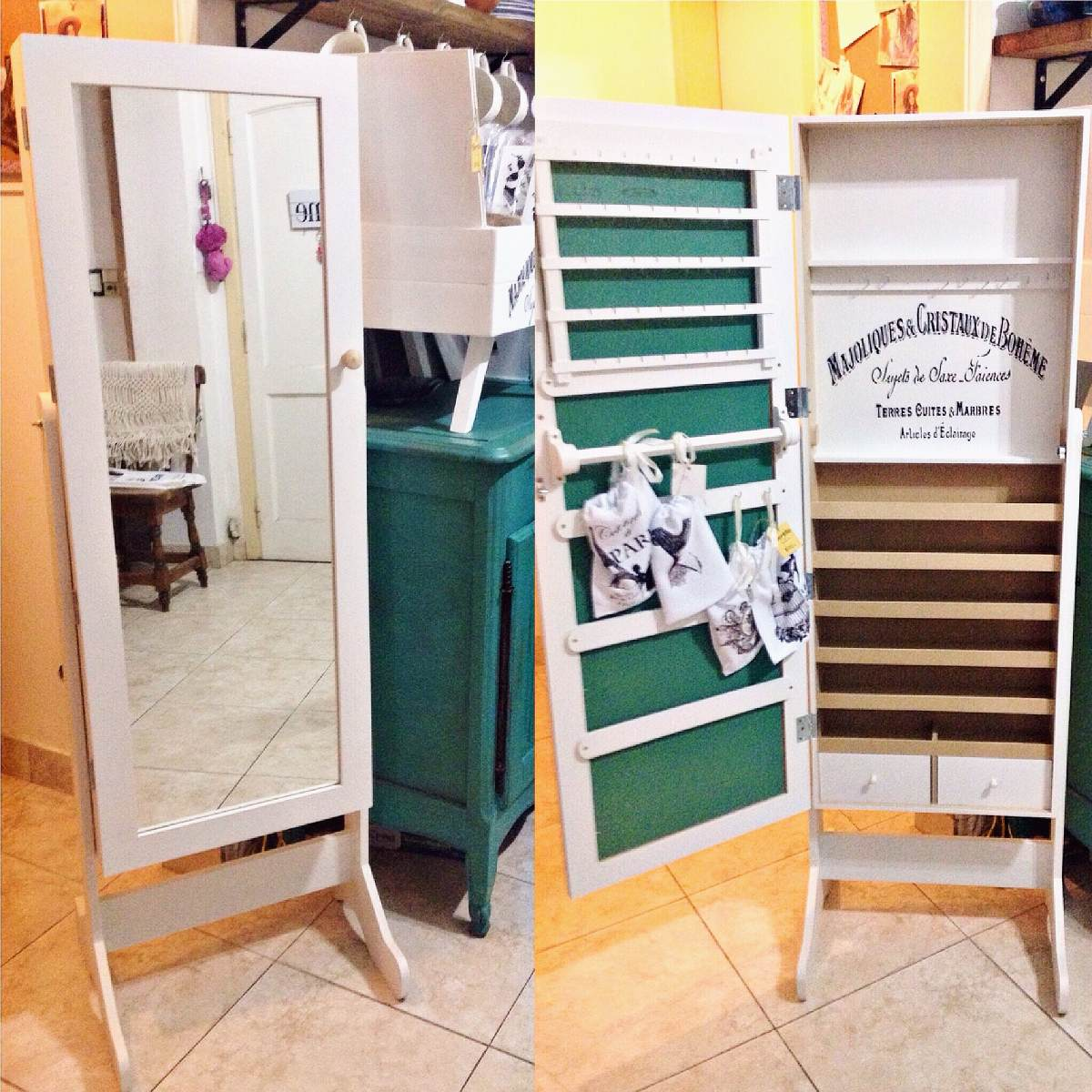 Espejo Joyero Organizador Espejos Con Marco De Madera En Mercado  # Muebles Para Guardar Bijouterie