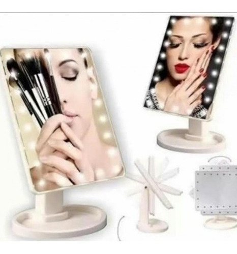 espejo led inalambrico cosmetico make up con luces led