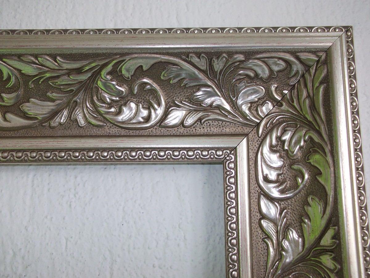 Espejo lujo dorado 110 x 70 cm marco clasico 1 for Marcos plateados para espejos