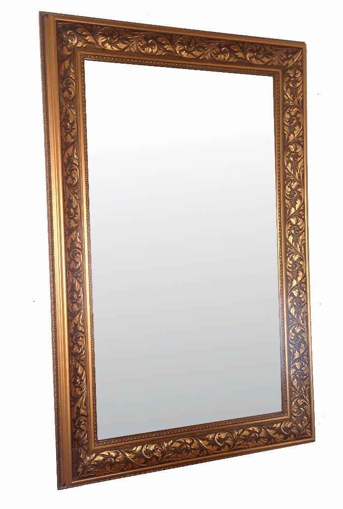 Espejo lujo dorado 110 x 70 cm marco clasico 1 for Espejo marco dorado