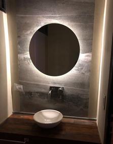 Espejos Para Bano Con Luz.Espejo Luz Led 60 Cm Diam Redondo Para Bano Accesorios Caba
