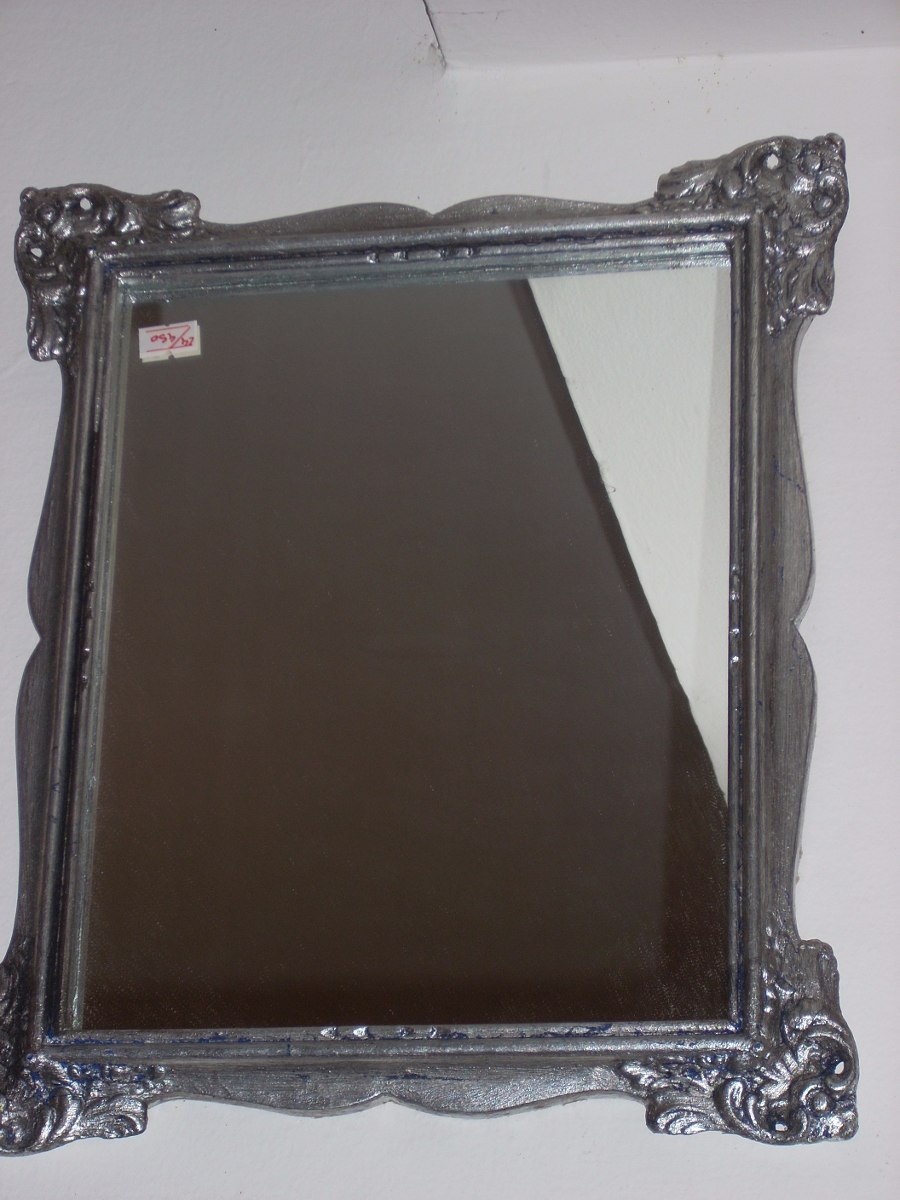 Espejo Marco Antiguo Plateado A La Hoja 37 X 31 - $ 950,00 en ...
