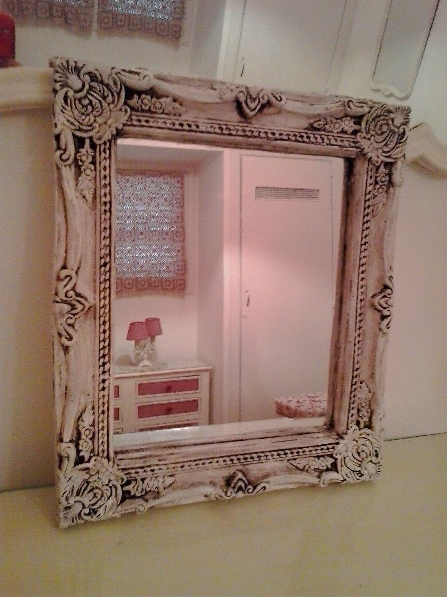 espejo marco estilo antiguo frances patina blanco envejecido