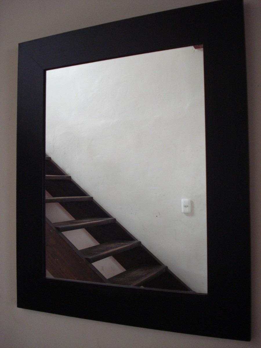espejo marco liso patinado en negro
