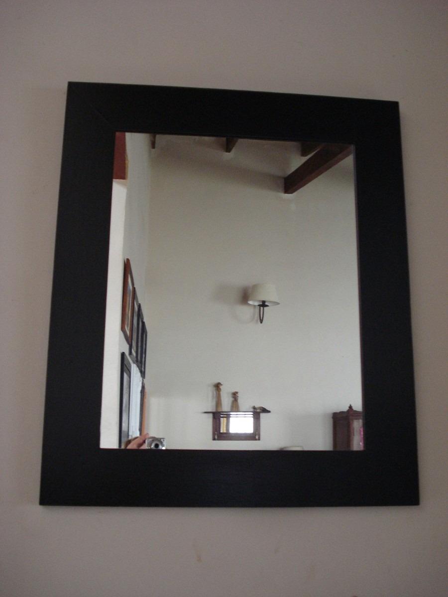 Espejo marco liso patinado en negro en for Marcos para espejos modernos