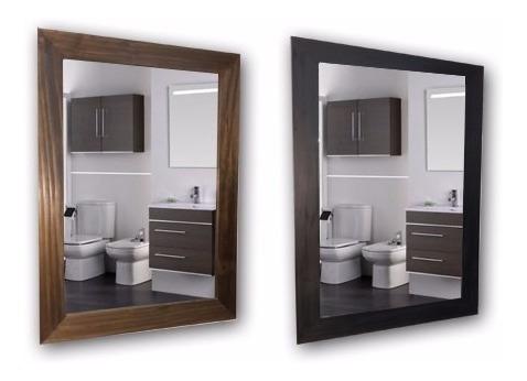 espejo marco madera baño living comedor habitacion 3 repisa