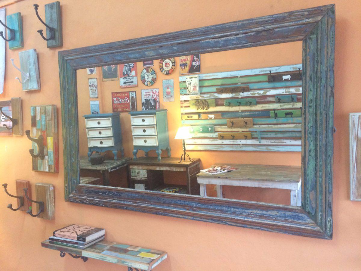 Espejo Marco Madera Reciclada Estilo Vintage Rustico Decape ...