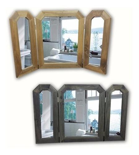 espejo marco madera triptico con alas living comedor baño