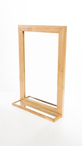 espejo marco y repisa madera  repisa living comedor baño