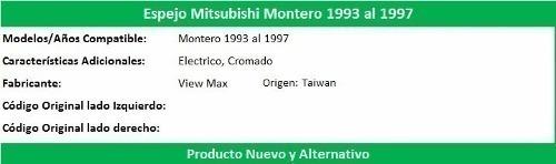 espejo mitsubishi montero 1993 al 1997 electrico cromado