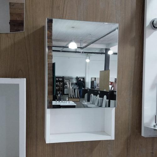 espejo moderno baño estantes puerta vidrio colgar blanco 30