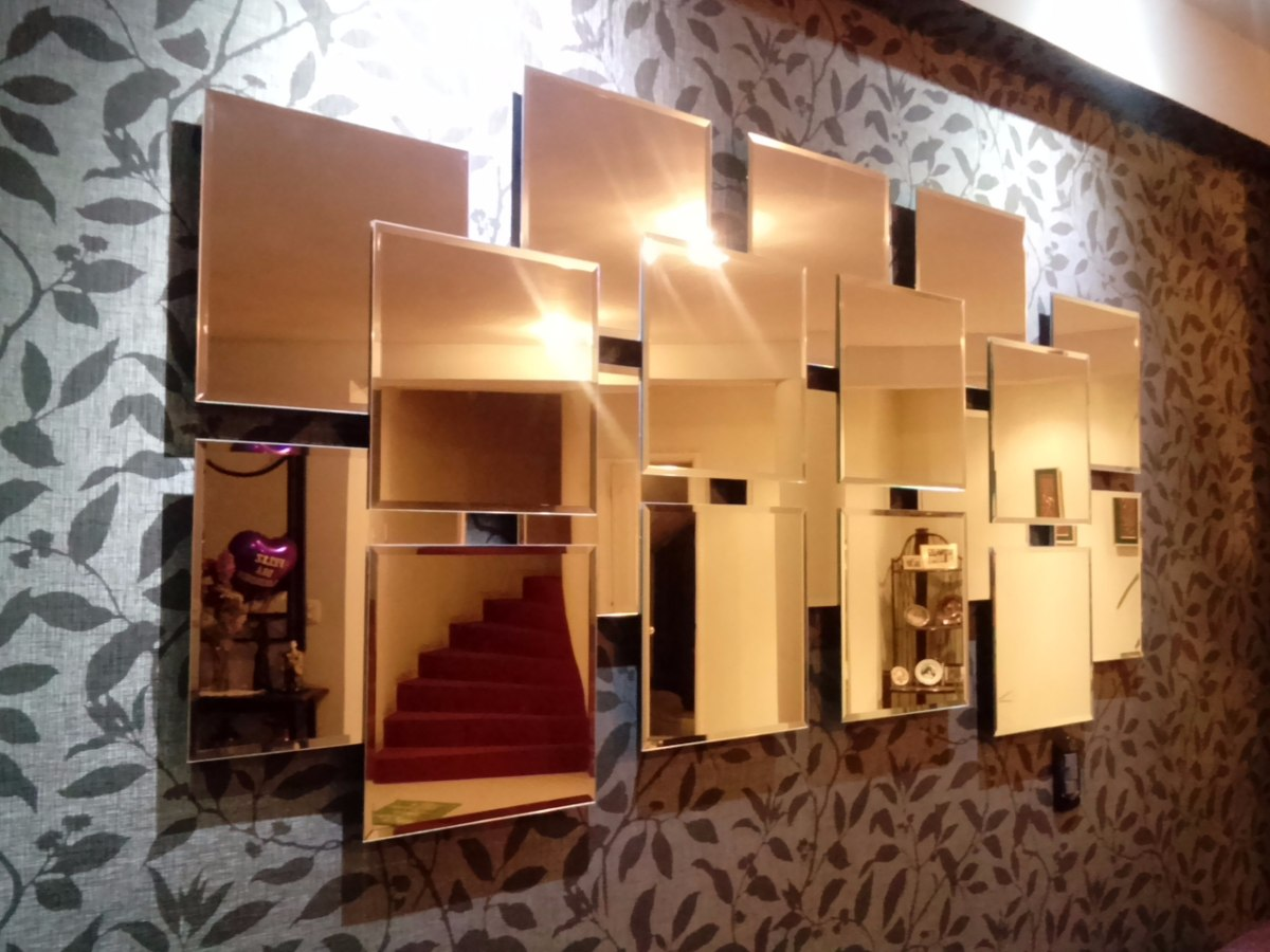 Espejo moderno de 18 piezas s 750 00 en mercado libre for Espejos rectangulares para sala