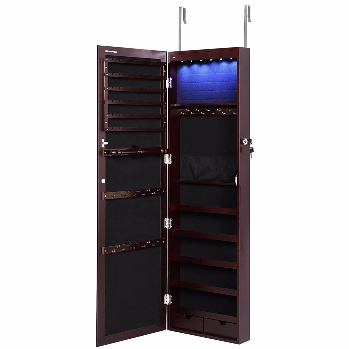 Espejo Organizador Puerta Pared Joyero Con Luz Led Cafe - $ 4,499.00 ...