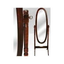 Espejo ovalado de pie con marco y base en madera for Espejo ovalado de pie