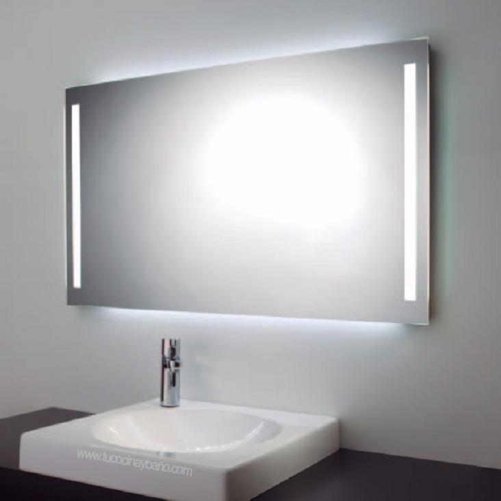 Espejo Para Bano Con Luz Led Integrada De Dos Barras 45x65cm