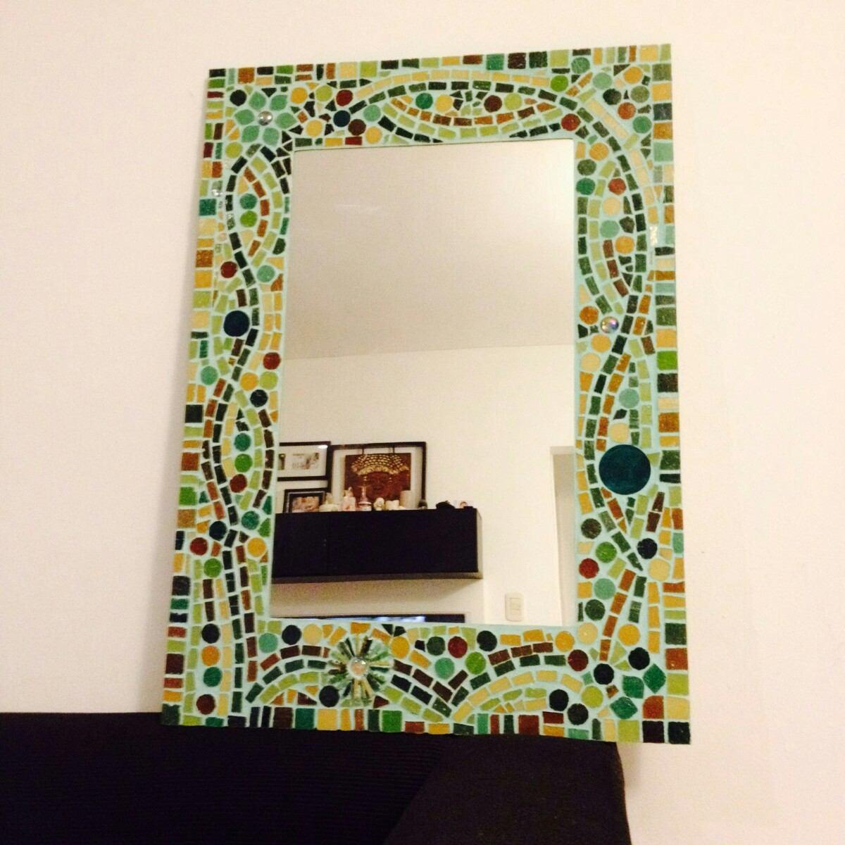 espejo para bao decorado en venecitas