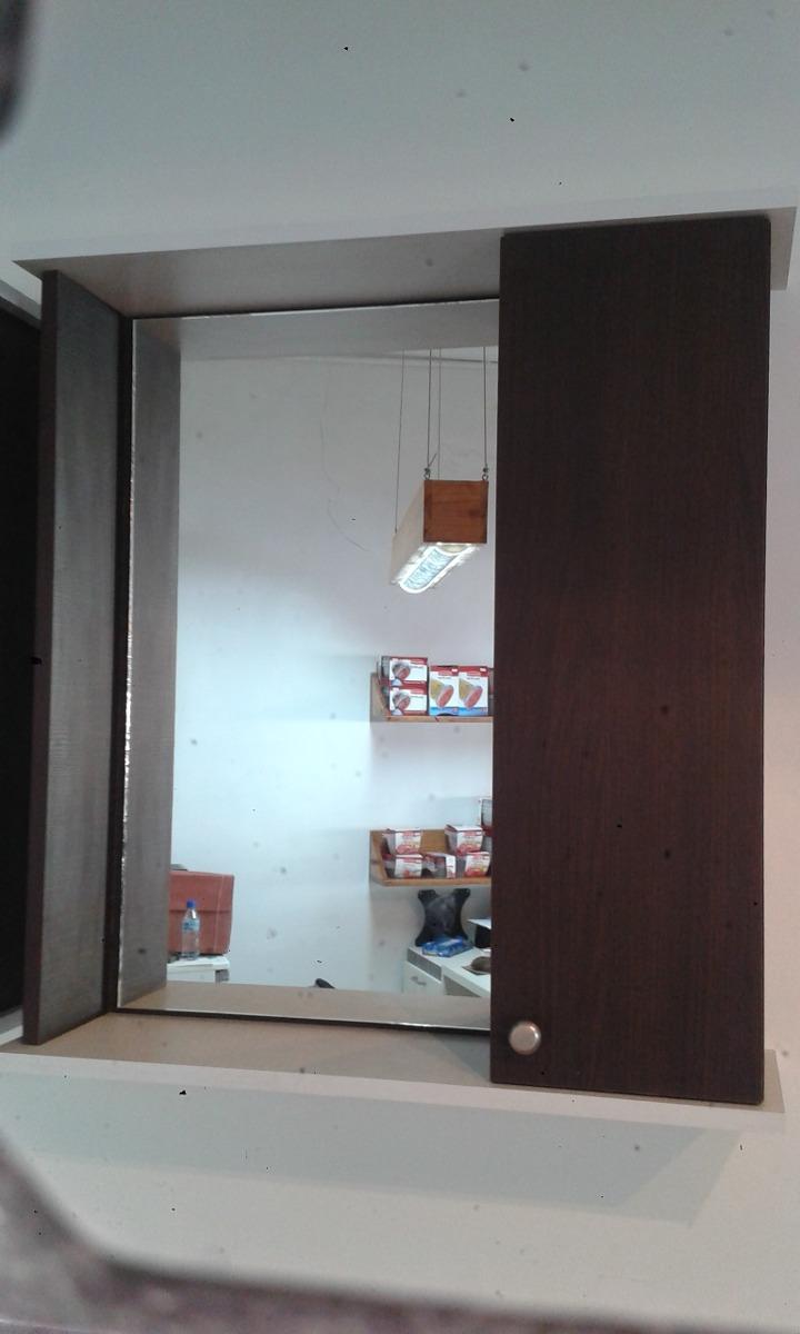 Espejo para ba o en melamina wengue combinado con blanco - Espejos de bano de diseno ...