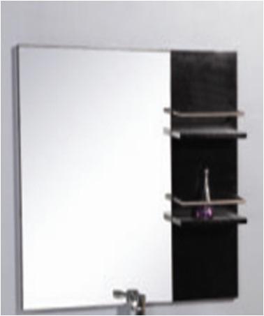 Espejo para ba o horizontalcon marco marron y repisa 51023 for Espejo marco wengue