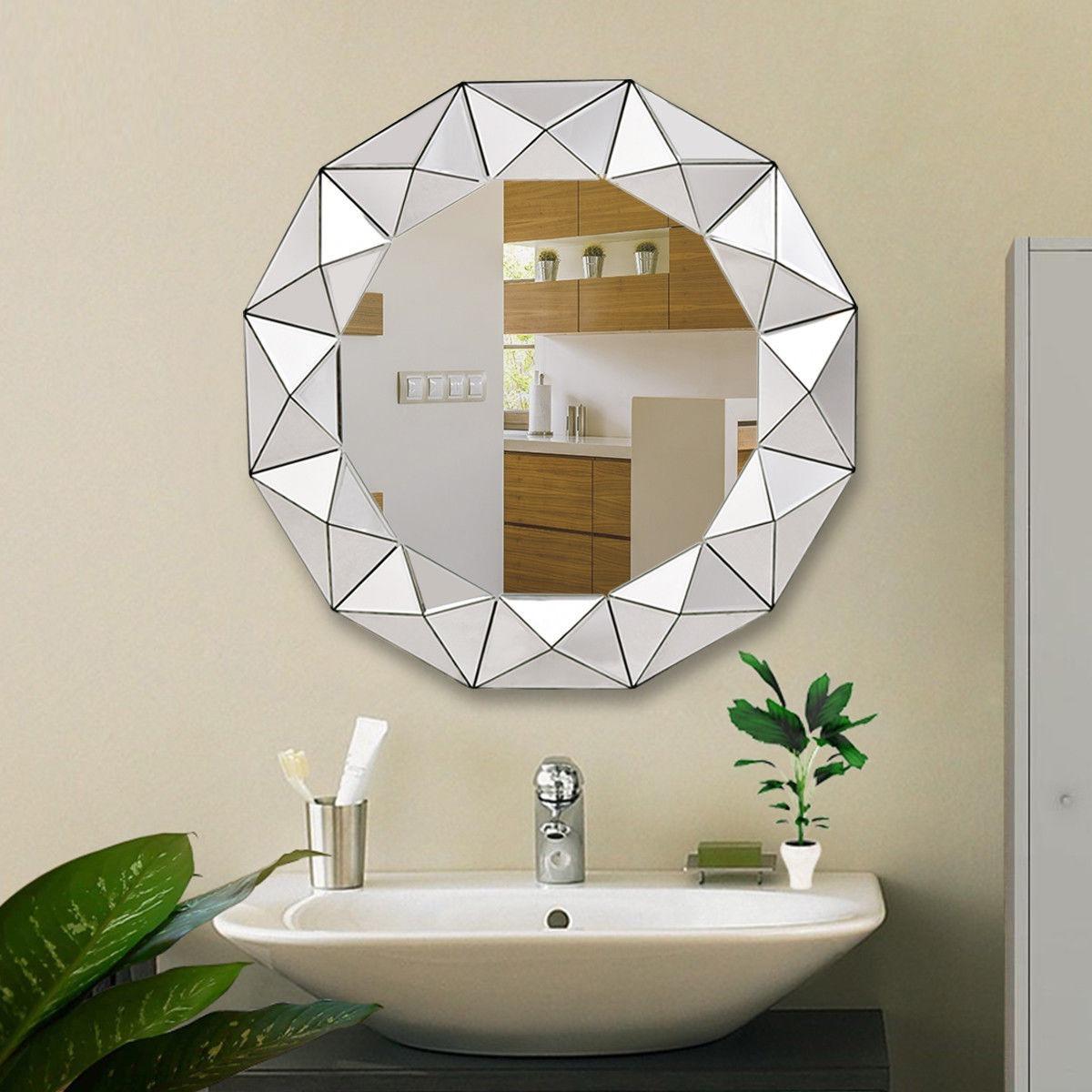 Espejo para ba o redondo biselado 31 5 diametro 3 080 for Bano con espejo redondo