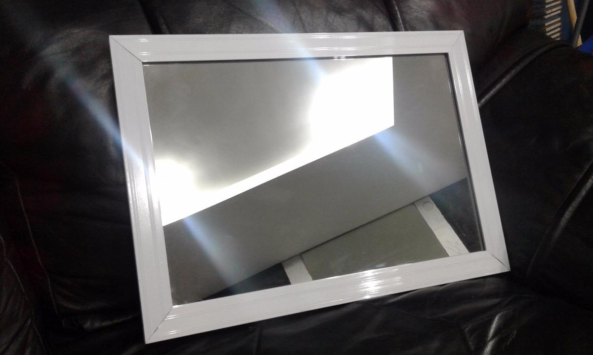 Espejo Pared Marco Aluminio Blanco 40x30cm Living Dormitorio - $ 860 ...
