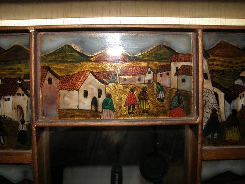 espejo peruano con marco ilustrado