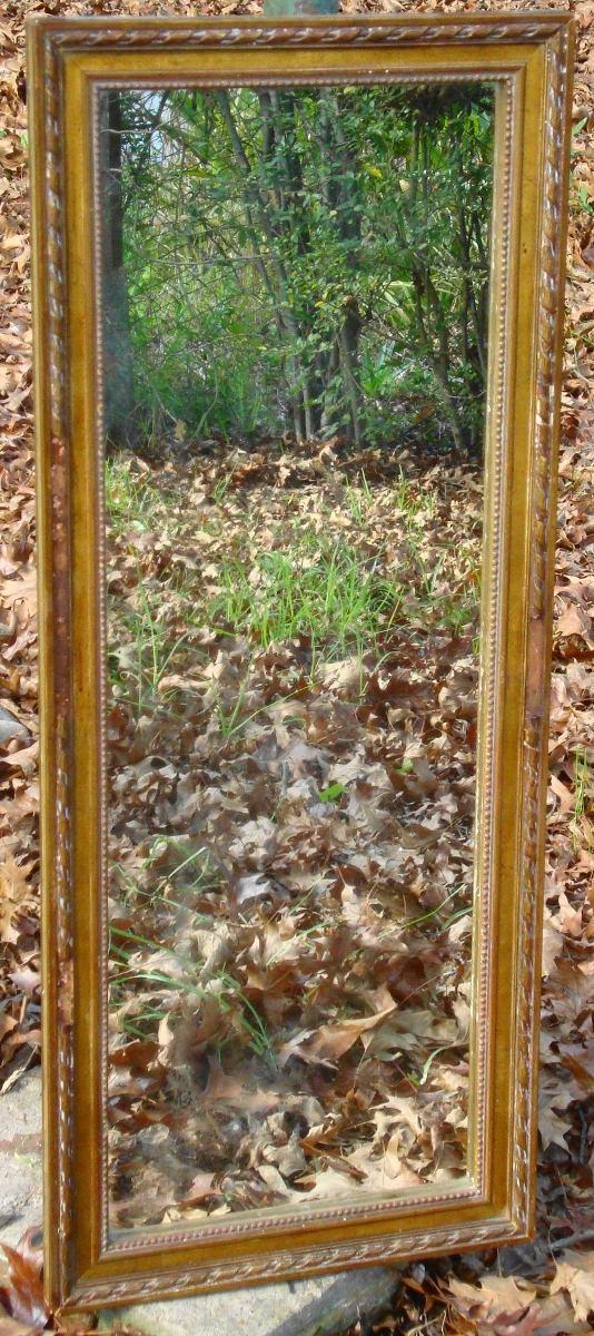 Elegante espejo pie metal hueso adidum for Espejo rectangular con marco