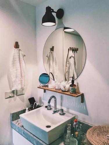 espejo redondo 50cm para baños y decorar ambientes oferta.