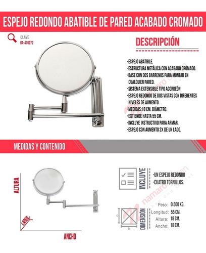 espejo redondo abatible de pared estilo cromado envio gratis
