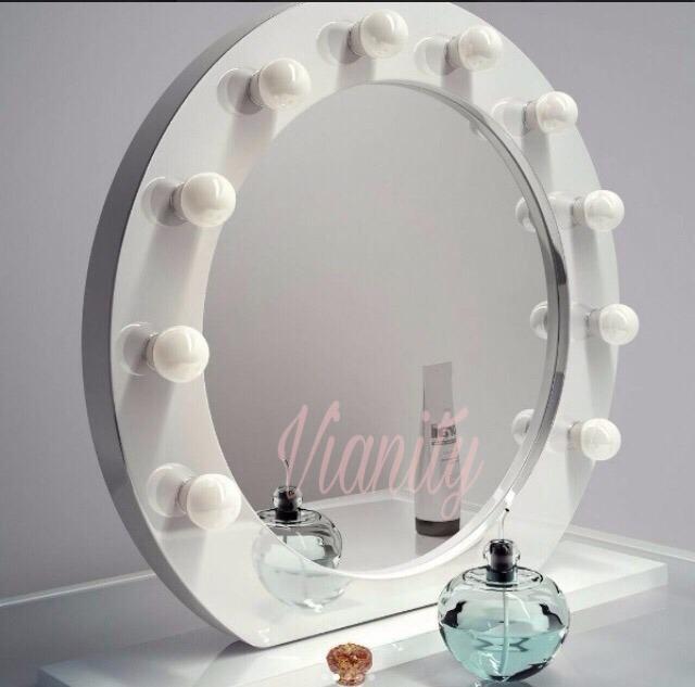 Espejo Redondo Con Focos Con Luz Para Maquillaje Camerino