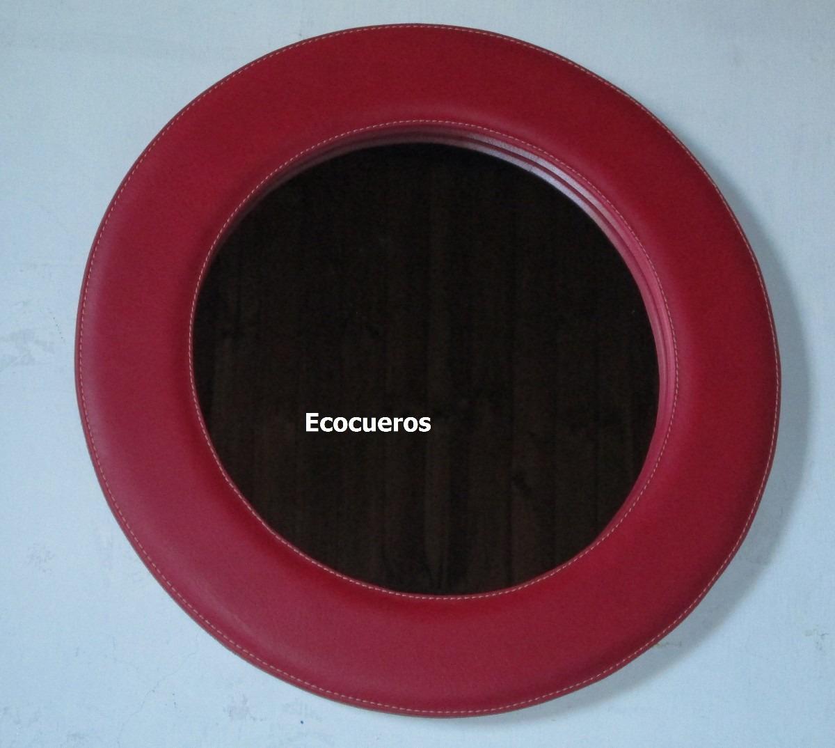 Espejo redondo forrado en ecocuero en mercado libre for Cuanto cuesta un espejo