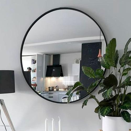 espejo redondo marco metal negro mate 100cm diámetro