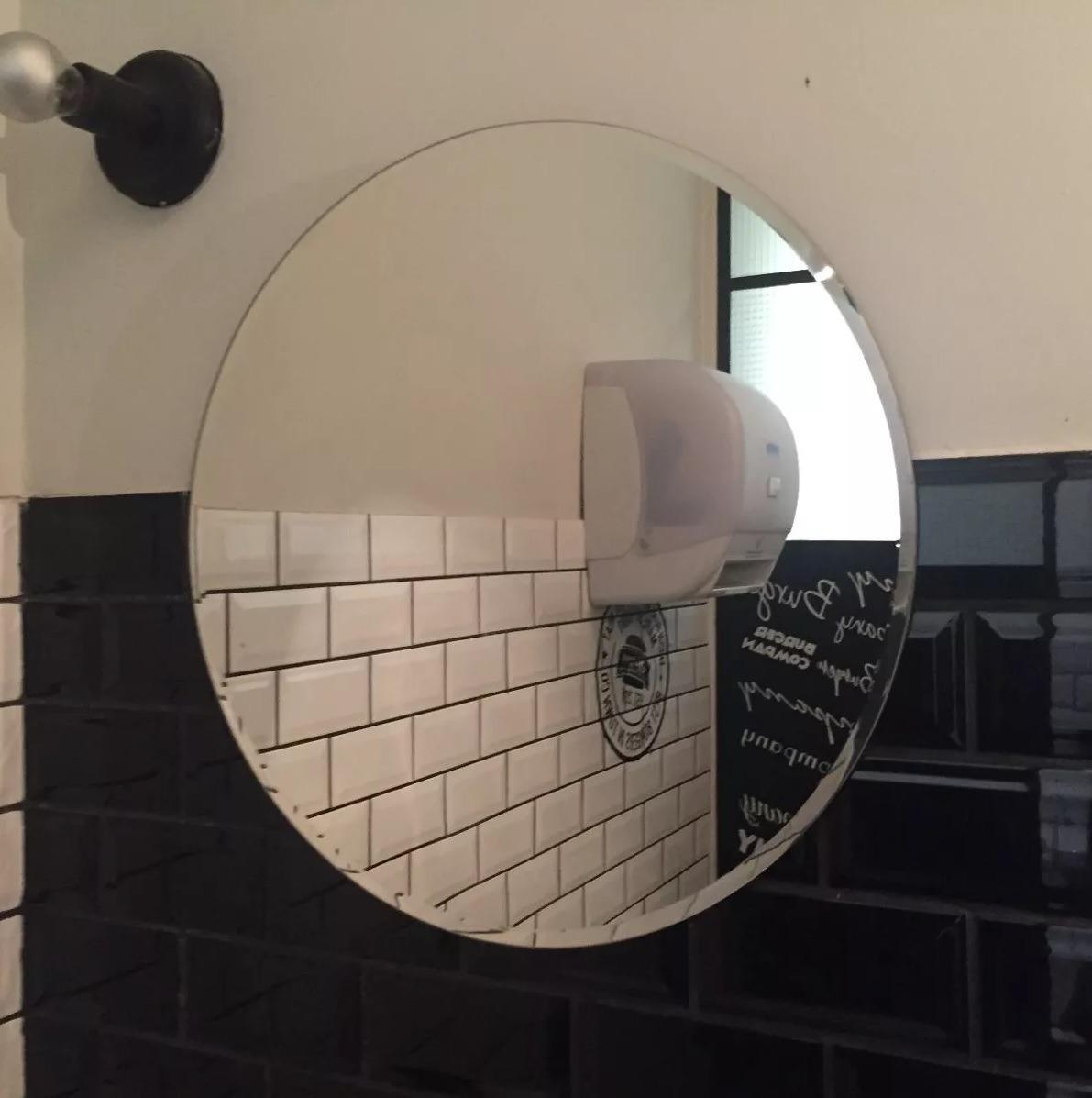 Espejo redondo sin marco con bisel 1 2 60 cm 6mm de for Precio espejo a medida sin marco