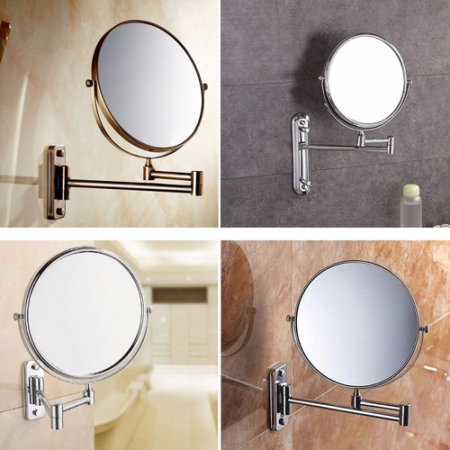 espejo retráctil baño giratorio doble faz 5x tipo hotel 20cm