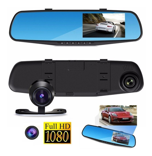 espejo retrovisor camara frontal+cámara retroceso hd 1080p