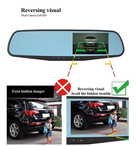 espejo retrovisor coche dvr 2 camaras reversa full hd