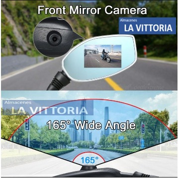 espejo retrovisor con doble cámara 2en1 para moto