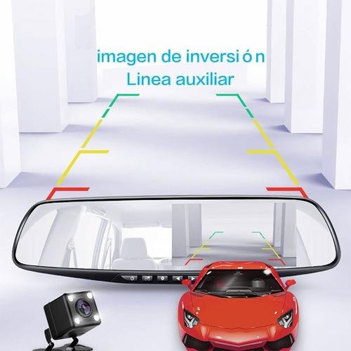 espejo retrovisor doble con camara delantera y reversa t1730