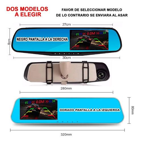 espejo retrovisor dvr universal 2 camaras, sensores reversa