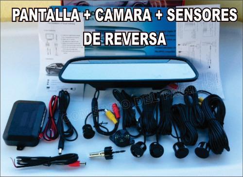 espejo retrovisor pantalla 5 + camara + sensores reversa