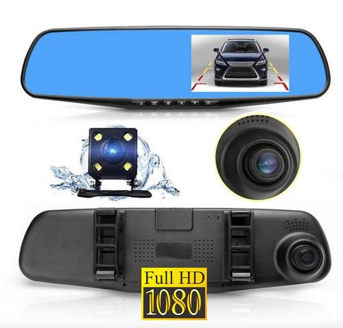espejo retrovisor universal 2 cámaras full hd dvr reversa