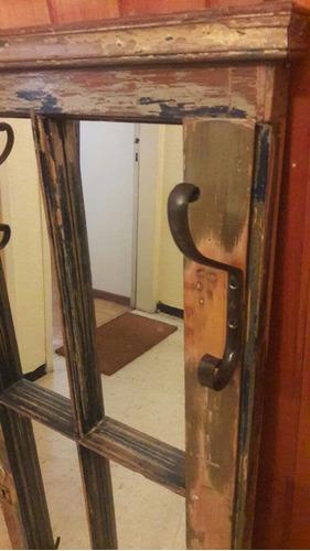 espejo rustico madera antigua perchero