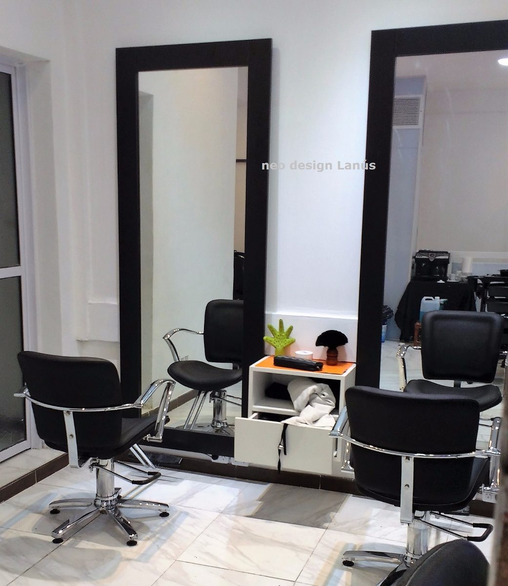 Espejo Salon Estetica 1 70 X 0 70m Marco Negro Unico Gba