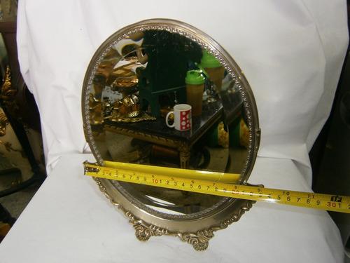 espejo tocador ovalado cristal de roca plateado con base