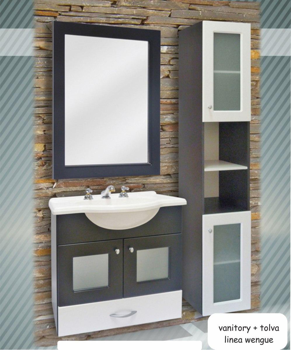 Espejo Vanitory Para Ba O Color Wengue Excelente Calidad  ~ Colgar Espejo Baño Sin Taladrar