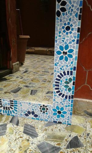 espejo venecitas 50x70 diseño hogar baño. colores azules