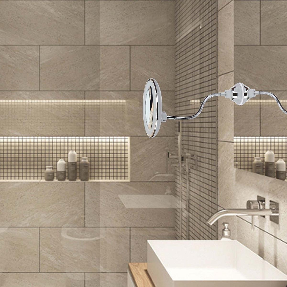 Espejo Bano Aumento Con Luz.Espejos De Bano Con Aumento 10x Luz Articulado